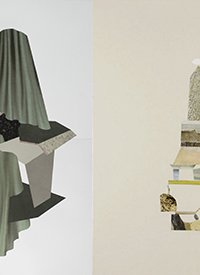 L: Simone Rochon, Le plein du vide no.3 (2015-2016) R: Maggie Groat, Proposal for a Monument (2013)