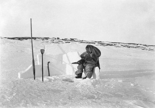 "Geraldine Moodie, ""Inuit woman ice fishing, Fullerton Harbour, Nunavut,"" 1905"