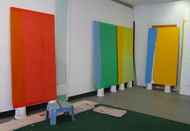 "Mitchel Smith, ""Surface Tension,"" studio view"