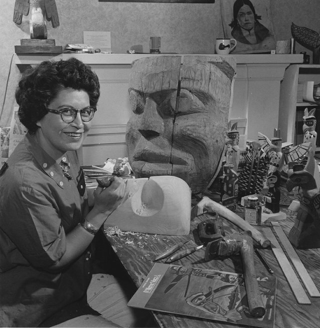 Ellen Neel at work in her studio.
