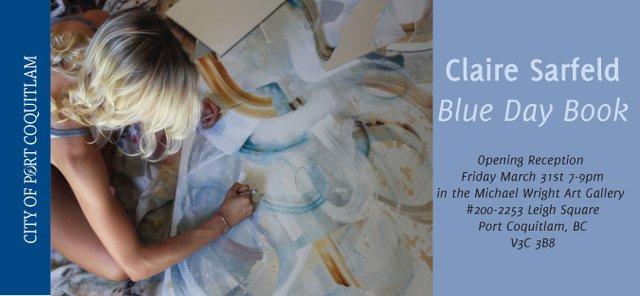 Claire Sarfeld, Blue Day Book Exhibit Invitation