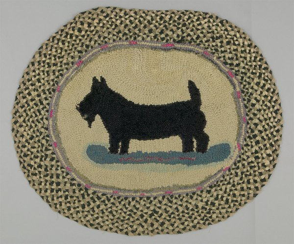 Oval rug with dog, Ontario, early to mid-20th century