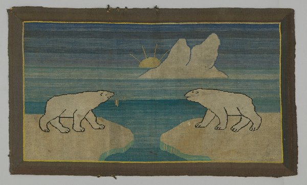 Hooked rug with polar bears, Grenfell Mission, Newfoundland and Labrador, after 1916