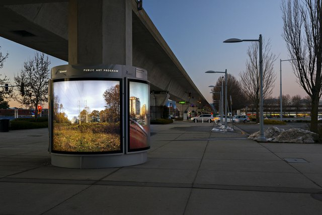 "Michael Love, ""A Question of Balance,"" Landsdowne East Canada Line station installation, Richmond, B.C."