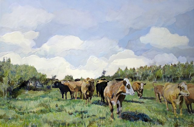 """Heather Cline, """"Cows for G,"""" 2016"""