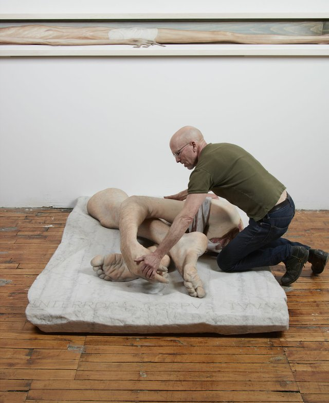 "Evan Penny in studio with ""Self Portrait after Géricault's Fragments Anatomiques,"" 2017"