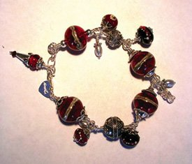 Red glass bead bracelet with freshwater pearls
