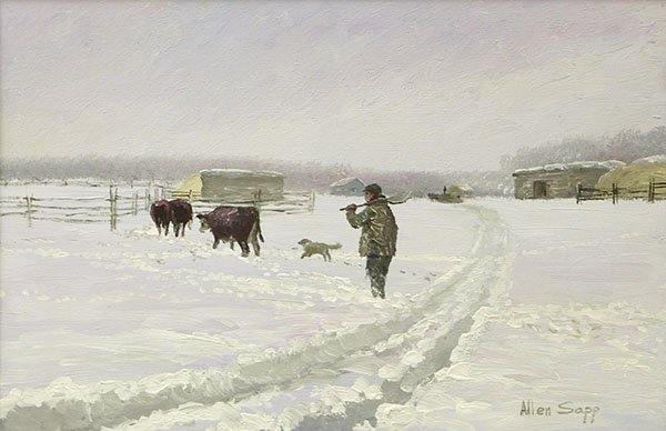 """Allen Sapp RCA OC (1928 - 2015),""""Finished Watering the Cows,"""" 1971"""