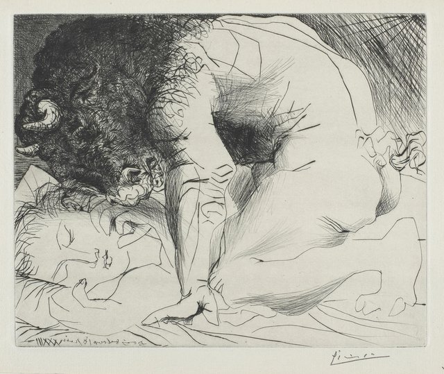 "Pablo Picasso, ""Minotaur Kneeling over Sleeping Girl,"" 18 June 1933"